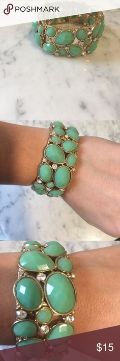 Forever 21 bracelet, sea foam green Gonna be your new favorite statement bracelet. In amazing condition.  Stretchy. All of the stones are in place. Forever 21 Jewelry Bracelets