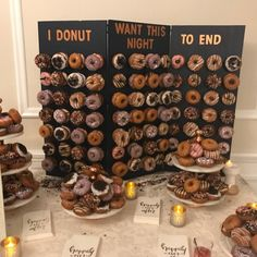 Donut Wall Wedding Special Occassion Dessert Display Doughnut Donut Stand is part of Donut wall wedding Welcome to DonutWallsCo! Our passion for donuts and wood working gives us the opportuni - Wedding Donuts, Wedding Desserts, Wedding Cakes, Wedding Decorations, Donut Wedding Cake, Graduation Desserts, Wedding Ideas, Diy Wedding Food, Dessert Bar Wedding