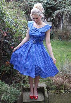 Vintage 1950s bright blue 1950s style polka dot swing dress
