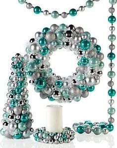 Whimsy Collection, Aquamarine & Silver - $29.95»  Having the blues doesn't have to be a bad thing when you can purchase several items for your holiday decor at one time. We love this combination of aquamarine and silver.