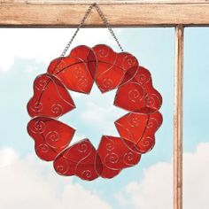 Stained Glass Heart Wreath - Oriental