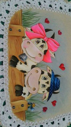 Lindos Cow Painting, Fabric Painting, Applique Patterns, Applique Quilts, Cartoon Cow, Cow Decor, Fabric Paint Designs, Tole Painting Patterns, Cow Art