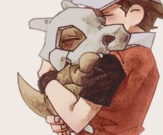 Cubone happy to see Red again and runs up to the Champion to hug him and, Red lifts up the orphaned Pokemon to hug him back.