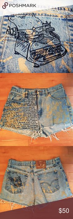 Great Gatsby Retro Cutoff Shorts | One of a Kind Unique and original distressed jean shorts. After my sister discovered a pair of parchment-colored paint-covered jeans in the thrift store, we chopped them and hand-distressed the edges. I then added a typewriter to the back pocket and the first part of chapter one to the front.... Could probably fit a size 2-8 depending on how you want to wear them (high-waisted and belted versus on the hips). Levi's Shorts Jean Shorts