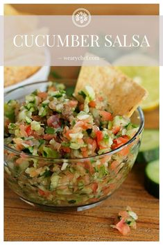 This fresh-tasting Cucumber Salsa is quick and easy to make, and it goes perfectly with chips and fish tacos! Cilantro Recipes, Cucumber Recipes, Fresh Salsa Recipe Without Cilantro, Fish Recipes, Mexican Food Recipes, Recipes With Cucumbers, Salsa Guacamole, Cucumber Salsa, Pico De Gallo