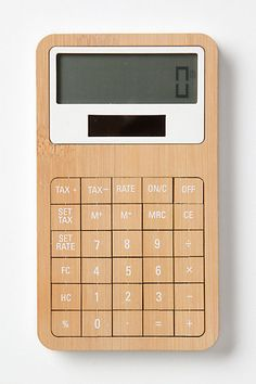 calculator made from bamboo wood & corn-based plastic... a bit pricey, but super cool! <3