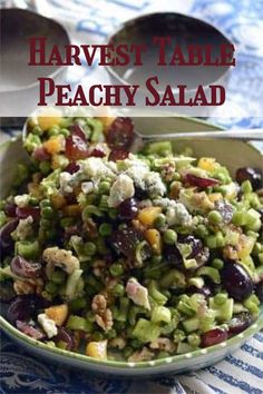 Try The Harvest Table Peachy Salad when you need a refreshing side dish, and it won't disappoint. #choppedsalad #fruitsalad Good Healthy Recipes, Easy Recipes, Dinner Recipes, Different Salads, Chopped Salad, Easy Salads, Quick Easy Meals, Side Dish, Harvest