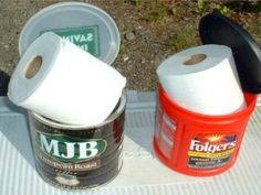 18 Inventive Camping Hacks Seen on Pinterest: Keep toilet paper clean and dry in a sealed coffee can