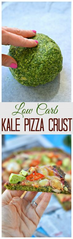 My fav Healthy Pizza Crust ! This Low Carb Kale Pizza Crust is made with only 5 ingredients and take 15 minutes to prepare. A nice recipe to impress your guest #pizza #crust #kale #pizzacrust #lowcarb #healthypizza #food #recipe #appetizers #healthyappetizers #easyappetizers #easy #quick #fingerfood #glutenfreepizza