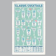 Stuart Gardiner Classic Cocktails Tea Towel: Bloody Mary is that the time? It must be cocktail o'clock! Happy Hour comes home! Get that cocktail shaker out of the closet and indulge your inner Tom Cruise with this illustrated guide to Classic Cocktails. Features 20 recipes alongside key glassware and equipment info, it's the perfect bar towel for every budding mixologist.
