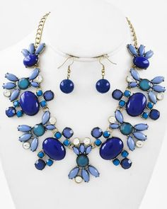 Burnished Gold Tone / Blue Acrylic & Clear Rhinestone / Lead&nickel Compliant / Necklace & Fish Hook Earring Set
