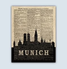 Munich Skyline, Munich Wall Art, Munich Germany, Munich Poster, Munich Art, Munich Cityscape, Munchen, Munich Decor, Dictionary Art by DicosLand on Etsy