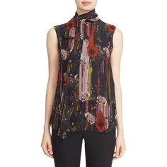 Jason Wu Tie Neck Floral Print Silk Chiffon Blouse ($995) ❤ liked on Polyvore featuring tops, blouses, black, neck-tie, floral necktie, floral blouse, tie neck tie and sleeveless tops