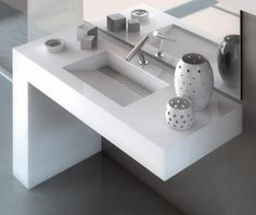 Silestone integrated vanity bench