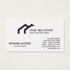 LOGO Black house real estate agent professional Business Card Custom office supplies #business #logo #branding