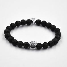 Exclusive Natural Stone Dog Paw & Lava Bead Bracelet