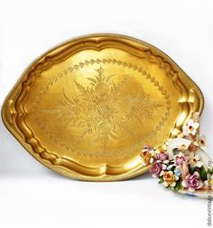 """Купить Винтажный поднос из латуни""""Цветы"""" ,Индия. - латунь, золотой, поднос из латуни, винтажный поднос"""