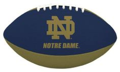 NCAA Notre Dame Tailgater Football by Licensed Products. $17.95. Packaged With Black Kicking Tee. Junior Size Playable Football - 10-Inches. Designed With Team Colors and Primary Logo. Stitched Rubber Material For Ease In Throwing & Catching. Each football's playable pebble design is inspired by the helmets the teams wear on the field - bringing the action closer to the backyard or park than ever before!