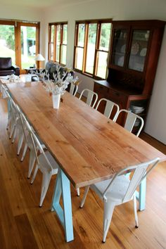Pacific Blue Dining Trestle Table - assorted sizes by Plank and Trestle