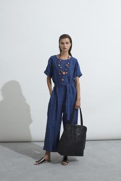 ELK FLYTE JUMPSUIT - Removable waist tie - Cuffed sleeve - Wide cut with slight dropped crotch - Invisible centre back zip Fabric: Linen Care: Elk, Jumpsuit, Shirt Dress, Fabric, Centre, Sleeves, How To Wear, Shirts, Dresses