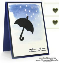 Stampin' Up! #1 Demonstrator Pootles -Watercolour Raindrops on Umbrella Weather Together