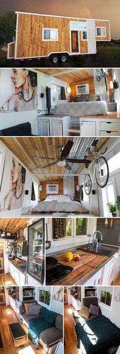 This 32′ gooseneck tiny house, Terraform One, was planned by Richard Ward over two years. The 250-square-foot tiny house uses structural insulated panels (SIPs), which offer better strength and insulation than regular 2×4 framing and are faster to install.