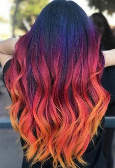 55 Glorious Sunset Hair Color Ideas for True Romantics - Glowsly color 55 Glorious Sunset Hair Color Ideas for True Romantics Fire Hair Color, Vivid Hair Color, Cute Hair Colors, Hair Color Shades, Pretty Hair Color, Hair Dye Colors, Long Hair Colors, Amazing Hair Color, Fire Ombre Hair