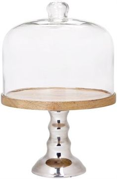 Medium Wooden and Metal Cake Stand with Dome.  sc 1 st  Pinterest & Anderson Large Metal and Wooden Cake Stand with Glass Dome. Dia: 15 ...