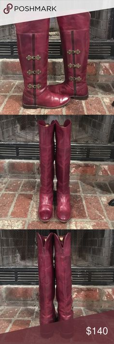 Frye Burgundy PAIGE Over the Knee Boots 💕 Frye Burgundy Leather Over the Knee Boots in good preowned condition, gently used a few times, no stains or holes 👌🏼 vintage distressed style 😍 true to size 🌺 Frye Shoes