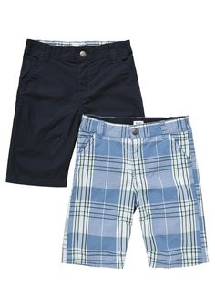 Clothing at Tesco | F&F 2 Pack of Plain and Checked Shorts > shorts > Shorts > Kids