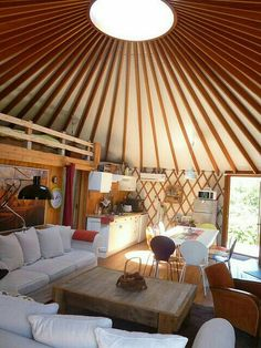 Yurt Interior Design New Love the Red and the Mix Of Vintage and Modern Yurt – Decorating Ideas Yurt Living, Tiny House Living, Living Spaces, Living Area, Living Room, Glamping, Yurt Home, Silo House, Natural Building