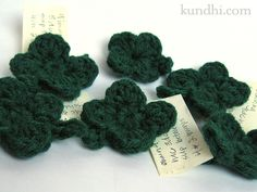 I had this idea. The top of my tiny crochet hearts kind of look like half of a four-leaf clover. What if I added two more leaves and a stem? After a few tries, I finally got it. Hope they bring you...