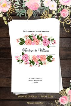 Wedding Program DIY - Printable Order of Service Template in Floral Bliss.