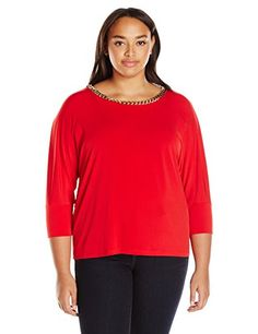 91ae2d0dd27fc Calvin Klein Womens Plus Size 34 Sleeve Top W Chain Rouge 3X -- You can get  more details by clicking on the image.Note It is affiliate link to Amazon.