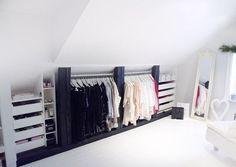 Attic closet (my ideal home .) - # attic closet - Loft closet (my ideal home …) - Loft Closet, Loft Room, Closet Bedroom, Closet Rod, Ikea Bedroom, Closet Space, Bedroom Furniture, Eaves Storage, Attic Storage