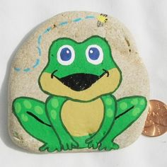 Hand Painted Rocks - Froggy and Fly