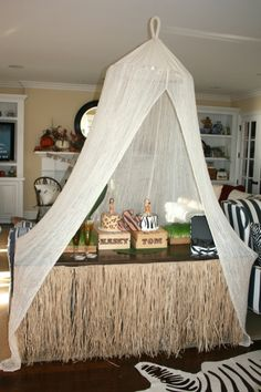 cute to do netting over the food table.