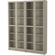 IKEA - BILLY, Bookcase, beige, , Adjustable shelves can be arranged according to your needs.Adjustable hinges allow you to adjust the door horizontally and Ikea Furniture, Bathroom Furniture, Office Furniture, Furniture Design, Billy Oxberg, Floating Glass Shelves, Ikea Billy Bookcase, Glass Cabinet Doors, Glass Doors