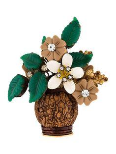 Lawrence Vrba Carved Flower Bouquet Brooch