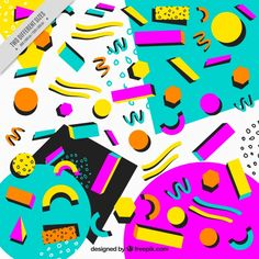 Abstract colorful background memphis 無料ベクター