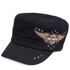 8b81beb355f Women s Studded Winged Logo Flat Top Harley-Davidson Hat Harley Davidson  Hats