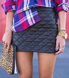 Im liking the whole plaid and leopard style lately...Plaid With Leather Skirt and Leopard Purse
