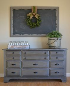 Dresser painted with Annie Sloan Chalk Paint in Graphite with a faux zink wax finish. Would be perfect for a dining buffet or TV Enter. Decor, Furniture, Redo Furniture, Refurbished Furniture, Painted Furniture, Painted Bedroom Furniture, Home Decor, Paint Furniture, Room Furniture