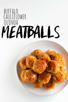 Buffalo Cauliflower Quinoa Meatballs | A tasty vegetarian meatball option! | thealmondeater.com