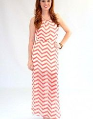 Red and White Chevron Maxi