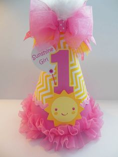 Pretty in Candy Pink Sunshine Girl - Candy Pink and Yellow Chevron - You Are My Sunshine Birthday Party Hat - Personalized