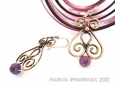 Asuntos Imaxinarios Jewelry 2013. Os brincos de Carmen. Cobre, amatista e aceiro. Carmen Earrings. Copper, amethyst and stainless steel.