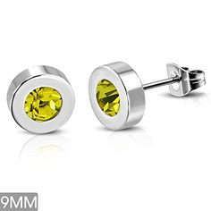 9mm  Stainless Steel BezelSet Round Circle Stud Earrings w Yellow Topaz CZ pair  ERR850 ** Details can be found by clicking on the image. Note:It is Affiliate Link to Amazon.