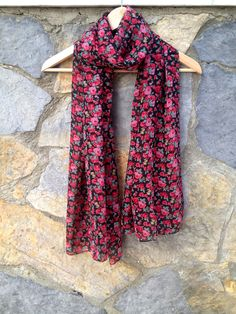 Black Floral Scarf, Black Sheer Wrap with Red Pink Green Flowers, Flower Pattern Shawl, Bridesmaids Gift, Long Chiffon Scarf, Gift For Her,