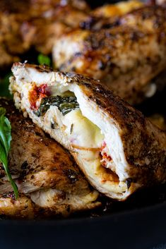 Caprese stuffed chicken breasts with melted mozzarella, sundried tomatoes and basil. Easy Chicken Recipes, Meat Recipes, Gourmet Recipes, Dinner Recipes, Cooking Recipes, Healthy Recipes, Game Recipes, Healthy Food, Recipies